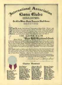 original West Hill - Highland Creek Lions Club charter